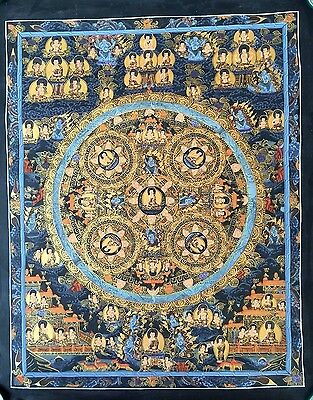Original Signed Handpainted Mandala Thangka Gold Painting Buddha Meditation Art