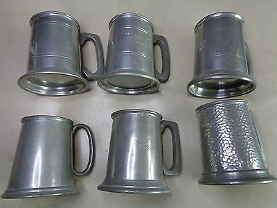 Six English Pewter 1/2 Pint Tankards from 1950's by Rand, Bright and James Dixon