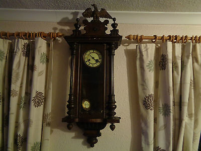 Walnut Cased Vienna Wall Clock Strikes Half And Hour