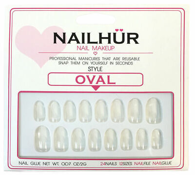 Nailhur - Oval - Clear Round Press On Nail Manicure Tips Kit with Glue