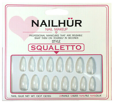 Nailhur - Squaletto - Clear Ballerina Coffin Press On Nail Manicure Tips Kit