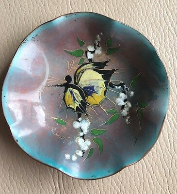 Antique Vintage Enamel Copper Dutch Trinket Dish Yellow Butterfly Signed Ronde
