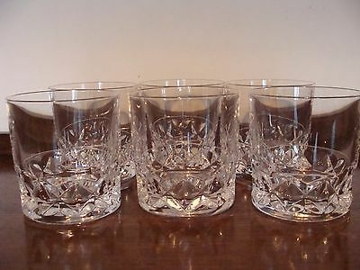 Six Heavy Cut Glass Whiskey Tumblers
