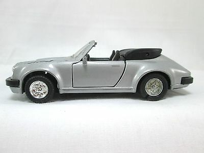 PORSCHE 911 SC 1:36 Diecast Gray Silver Convertible Vintage Friction Powered