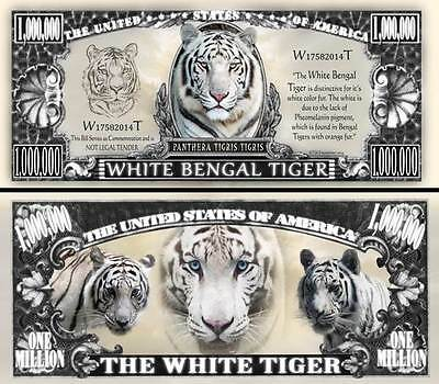 White Bengal Tiger Million Dollar Bill Fake Funny Money Novelty with FREE SLEEVE