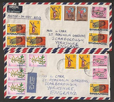 Singapore 2 1970 airmail covers with multiple low values