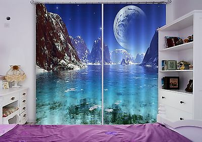 3D Planet Sea Blockout Photo Curtain Printing Curtains Drapes Fabric Window CA