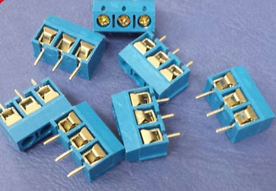 3 Pin Screw Terminal Block 3 Way PCB 5mm Pitch 10 Amp 300V 5 pack UK