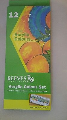 REEVES Artist's 12ml Acrylic Paints Set of 12 Assorted Colors High Quality