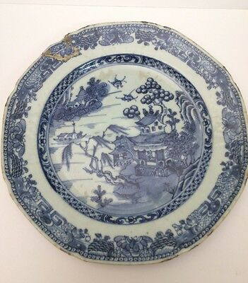 """Antique Chinese Qianlong Plate 8"""" Blue & White 18th Century , Restored Poorly"""