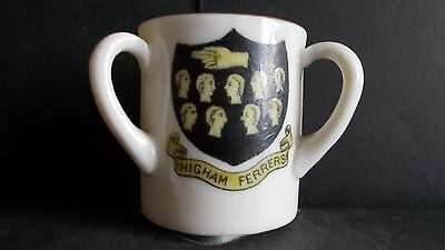Crested China Loving Cup - Higham Ferers (3 Crests)