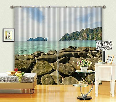 3D Stone Lake 8 Blockout Photo Curtain Printing Curtains Drapes Fabric Window CA