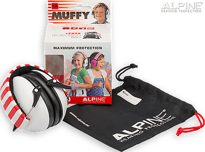 ALPINE Muffy Kids EARMUFFS, NO.1 Music Safe Hearing Protection - Red/ White