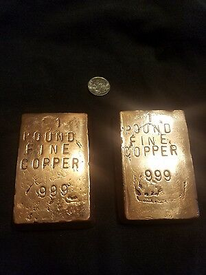 2 x 1 lb copper bar handmade hand stamped 999 pure copper ingot two  one pound