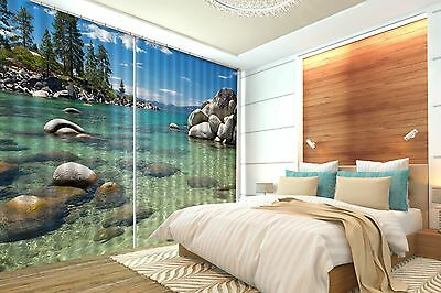3D Rocks Tree 8 Blockout Photo Curtain Printing Curtains Drapes Fabric Window CA