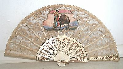 Vintage/Antique Authentic Spanish Lace Matador and Bull sequined Fan