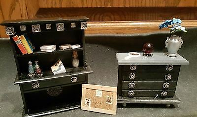 miniature 1:12 dollhouse furniture lot Dresser Black-Silver with Accessories