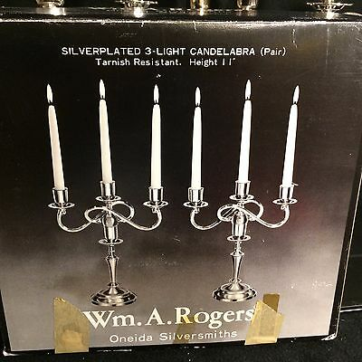 """Oneida Wm.A. Rogers 11"""" Silver Plated 3 Candle Candelabra (pair)"""