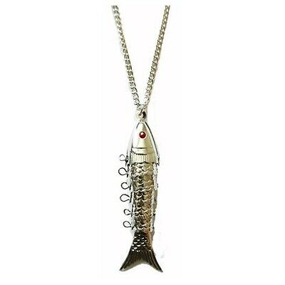 Vintage 1960s/70s metal articulated silver tone fish pendant charm necklace