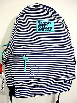 Superdry Print Edition Montana Navy Thin Stripe Backpack Rucksack NEW with TAG