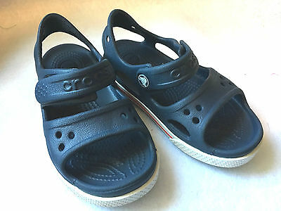 CROCS Crocband II PS Boys OR Girls Navy Blue Clogs Sandals Shoes Size 9