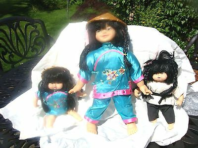 Collection of Soft Body Chinese Character Dolls karate national dress