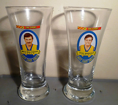 VINTAGE AFL WEST COAST EAGLES GLASSES Emu Export Collectors WANFL WAFL SANFL VFL