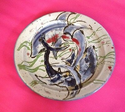 Hand Painted Fish Design Studio Pottery Plate