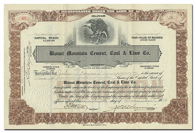 Blount Mountain Cement, Coal & Lime Co. Stock Certificate (Alabama)
