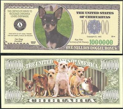 Chihuahua Dog Million Dollar Bill Fake Funny Money Novelty Note + FREE SLEEVE