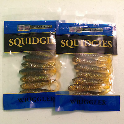 2x Squidgies Wriggler Soft Plastic Fishing Lures Black and Gold