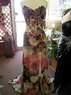 Jovani Brown /Multi Silk Prom Evening Special Dance Dress .S 10.