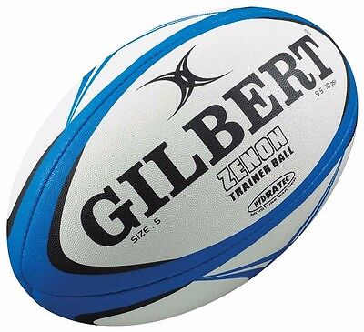 Gilbert Zenon size 5 training rugby ball - blue/white