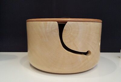 Wonderful Sycamore Wooden Yarn Bowl with a button lid.crochet,knitting.Handmade.