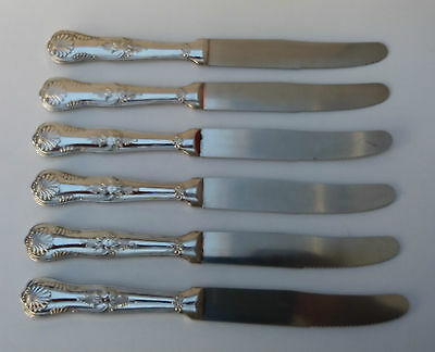 """Vintage~ Cutlery~ Kings Pattern ~ Set Of Six Knives ~ Silver  Plated  Size  9"""" ~"""