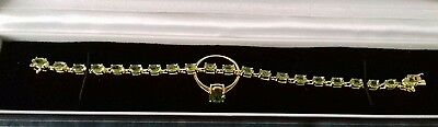 Sterling Silver Gold Overlay Hebei Peridot Bracelet And Ring