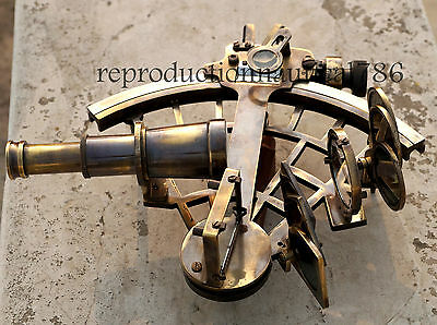 Handmade Heavy Brass Navy Astrolabe Sextant Nautical Working Marine Ship Sextant