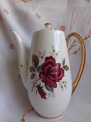 Beautiful Vintage Bone China Royal Imperial Red Rose Coffee Pot