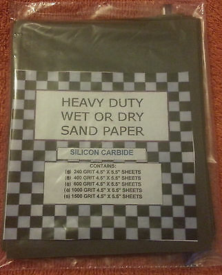 (40) 1/4 SHEETS SANDPAPER FINE 240, 400, 600, 1000, 1500 GRIT For pen blanks