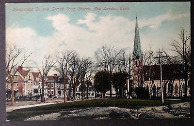 New London, Conn. C.1908 Pc. Hempstead St. And Second Congregational Church