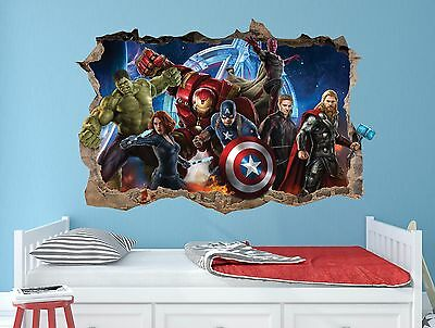 Childrens Wall Stickers X Large Boys 3D Wall Stickers Bedroom Marvel Avengers