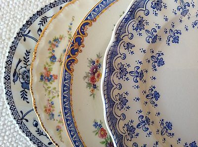 "Set 4 Vtg Mismatched China Dessert Cake Plates 6-6.75"" Blue & White Pink Accents"