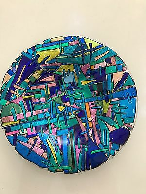 Genuine Jo Downs Bespoke Fused Glass Dichroic Dish Direct From The Studio