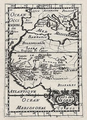 1683 North West Africa Pays des Nègres Country of Blacks 17th Cent. Map Mallet