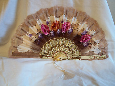 Vintage Giner Spanish Hand Held Painted Fan Victorian Floral Lace