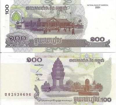 CAMBODIA 100 Riels Banknote, 2001, P-53a, NEW UNC World Currency