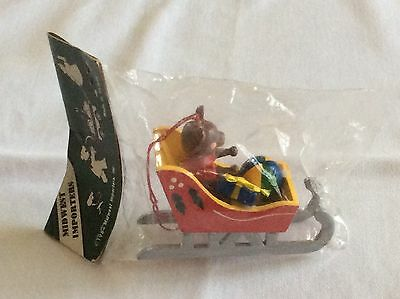 NIB 1984 MIDWEST IMPORTERS Wood Sleigh Christmas Holiday Ornament