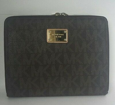 Michael Kors Ipad Snap Button Case Clutch Organizer Zip Brown