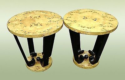 Pair of birds eye Art Deco style side tables