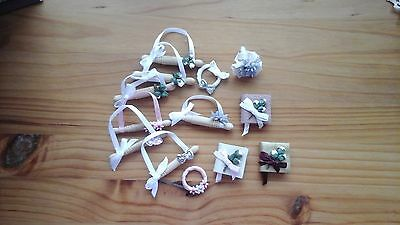 job lot, dolls house miniature wedding items,13, rolling pins,albums posy rings